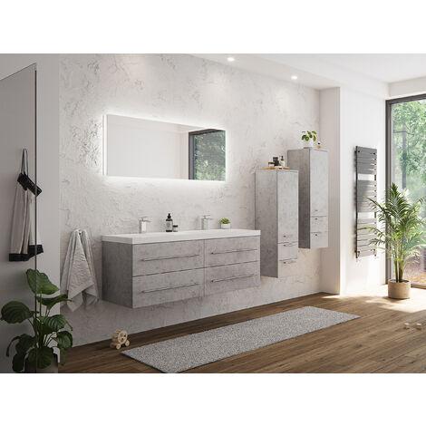 Ensemble de meuble de SDB Persepolis XL en aspect béton 4 pièce avec 2 colonnes