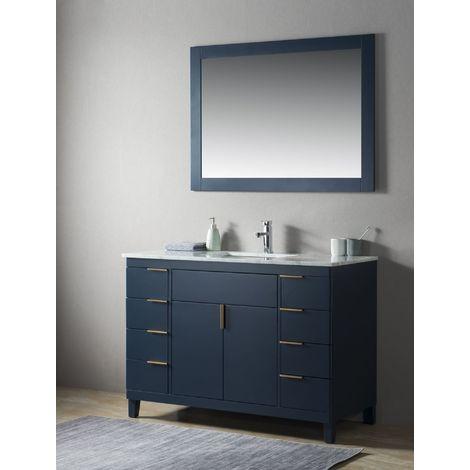 Ensemble de meuble SDB 2 pcs Elba 120 style rustique bleu laqué monté