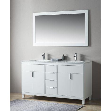 Ensemble de meuble SDB 2 pcs Elba 150 style rustique blanc laqué monté