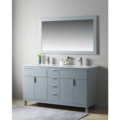 Ensemble de meuble SDB 2 pcs Elba 150 style rustique gris laqué monté