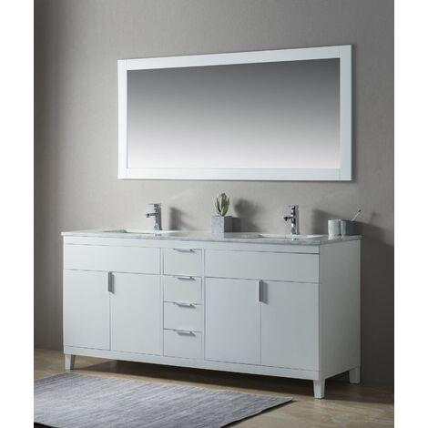 Ensemble de meuble SDB 2 pcs Elba 180 style rustique blanc laqué monté
