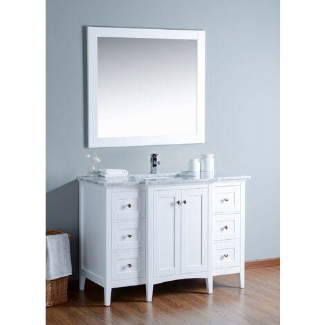 Ensemble de meuble SDB 2 pcs Gavino 120 style rustique blanc laqué monté
