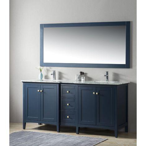 Ensemble de meuble SDB 2 pcs Gavino 180 style rustique bleu laqué monté