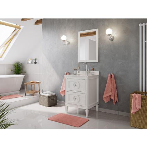 Ensemble de meuble SDB 2 pcs Lavanda 60 style rustique blanc laqué monté
