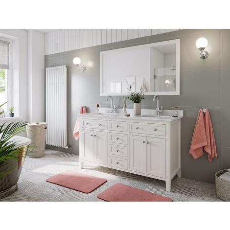Ensemble de meuble SDB 2 pcs Postigo 150 style rustique blanc laqué monté