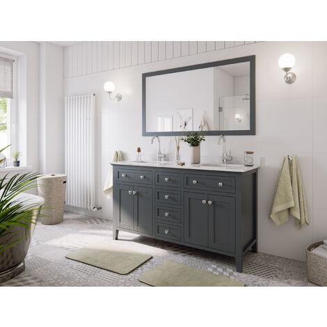 Ensemble de meuble SDB 2 pcs Postigo 150 style rustique gris laqué monté