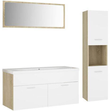 Ensemble de meubles de bain Blanc et chêne sonoma Aggloméré