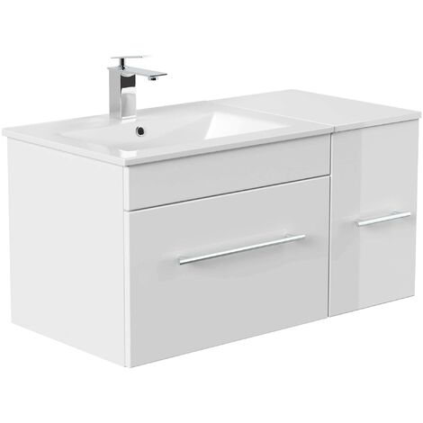"main image of ""Ensemble de meubles de bain Fortuna blanc brillant"""