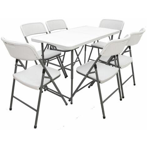 Ensemble de Meubles de Jardin 6 Chaises 120 cm Table Pliable Résistant aux Intempéries