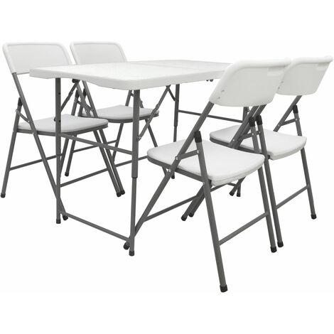 Ensemble de Meubles de Jardin avec 4 Chaises 120cm Table Pliable Blanc Plastique