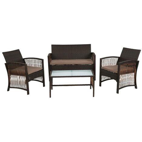 Ensemble de meubles de jardin en polyrattan Ensemble de sièges lounge marron