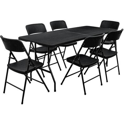 Ensemble de meubles de jardin Table de 180cm 6 chaises Pliable Aspect Rotin Noir