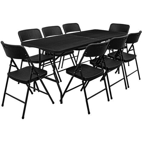 Ensemble de meubles de jardin Table de 180cm 8 chaises Pliable Aspect Rotin Noir