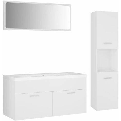 Ensemble de meubles de salle de bain Blanc Aggloméré