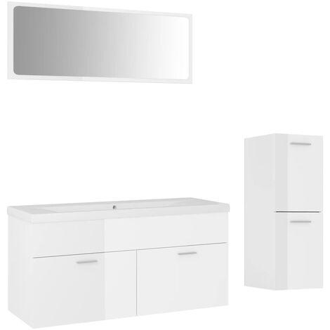 Ensemble de meubles de salle de bain Blanc brillant Aggloméré