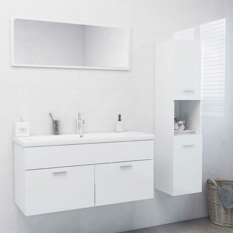 Ensemble de meubles de salle de bain Blanc brillant Aggloméré5897-A
