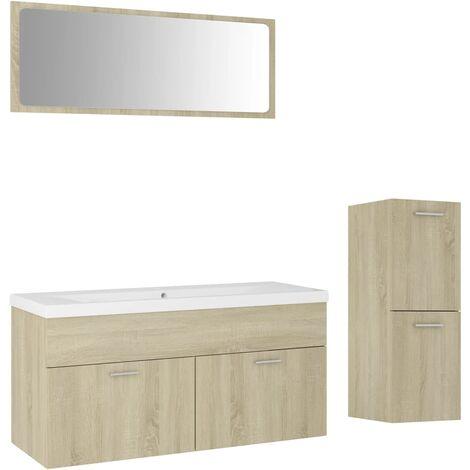 Ensemble de meubles de salle de bain Chêne sonoma Aggloméré