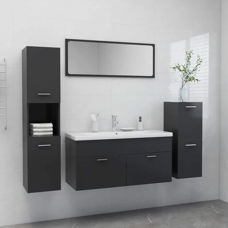 Ensemble de meubles de salle de bain Gris Aggloméré