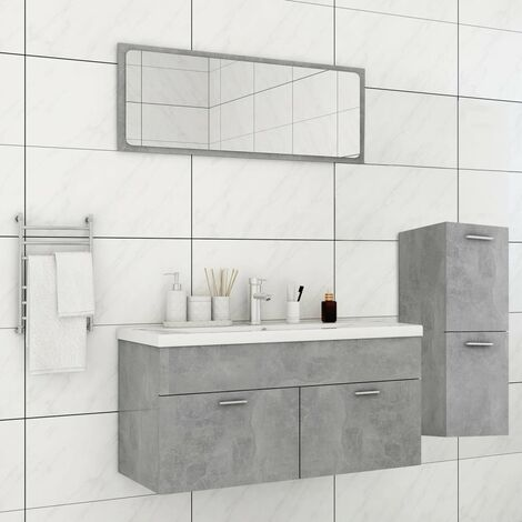 Ensemble de meubles de salle de bain Gris béton Aggloméré