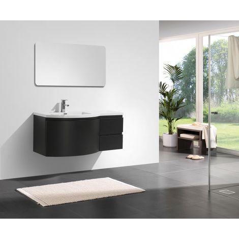 Ensemble de meubles de salle de bain LAURANCE 1200, noir mat - forme légèrement arrondie