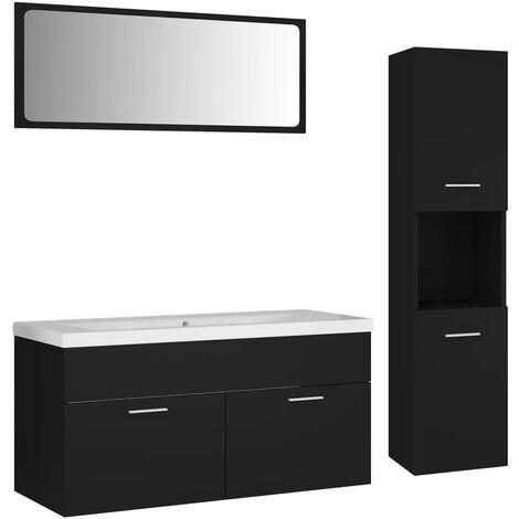 Ensemble de meubles de salle de bain Noir Aggloméré