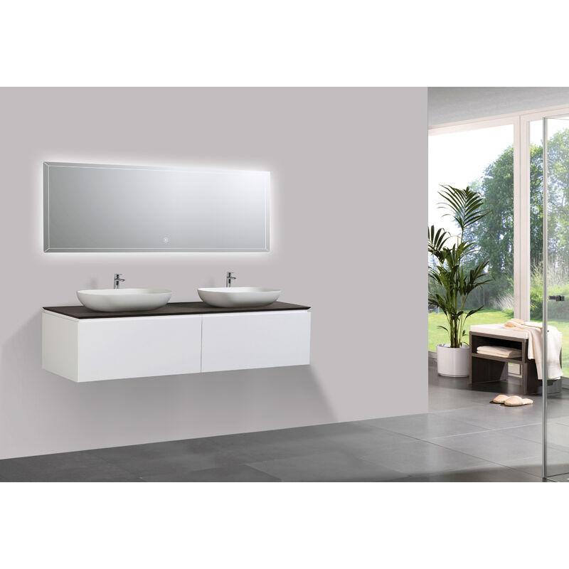 Ensemble de meubles de salle de bain spring 1500 blanc mat - Meuble de salle de bain mural ...
