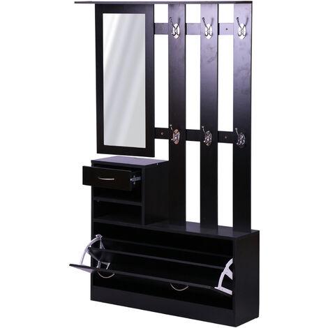 Ensemble de meubles d'entrée design contemporain : meuble chaussures, miroir et panneau porte-manteau panneaux de particules noir - Noir
