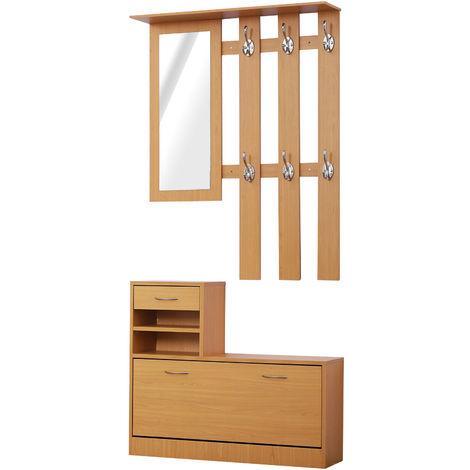 Ensemble de meubles d'entrée design contemporain : meuble chaussures, miroir et panneau porte-manteau panneaux de particules imitation bois clair