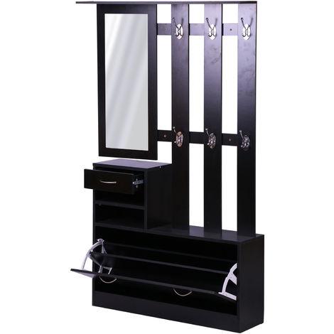 Ensemble De Meubles D Entree Design Contemporain Meuble Chaussures Miroir Et Panneau Porte Manteau Panneaux De Particules Noir