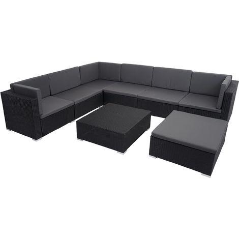 Ensemble de meubles en polyrotin HHG-022 pour balcon, jardin, Lounge-Set ~ noir, coussins gris foncés