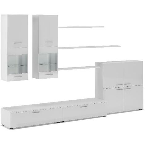 Ensemble De Meubles Meuble Tv Ilumin Led Blanc Laque Blanc Mate 300x189x42cm Betablanc
