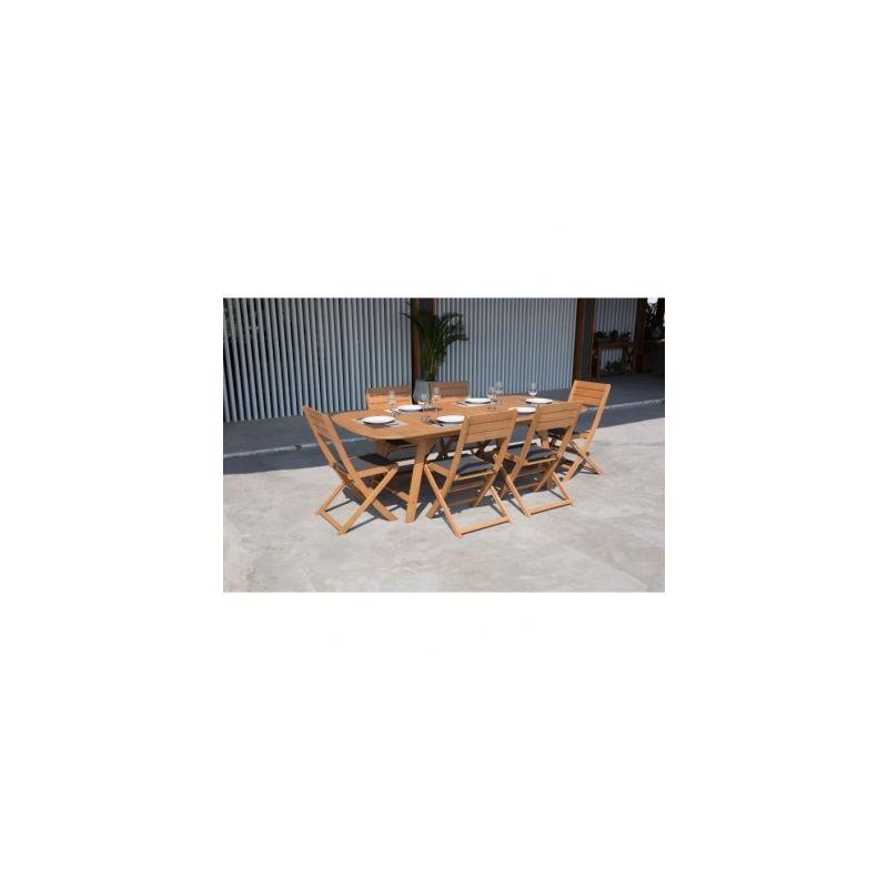 Ensemble de mobilier de jardin 6 places - 1 table extensible avec 4 ...