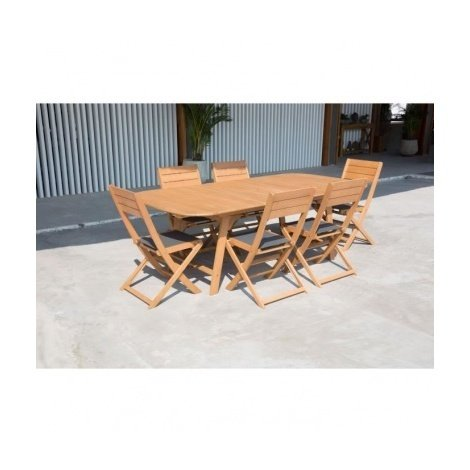 Ensemble de mobilier de jardin 6 places - 1 table extensible avec 4 ...