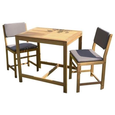 Ensemble De Mobilier De Jardin Ou De Balcon 2 Places 1 Table Et 2 Chaises Avec Coussins D Assise En Bois Acacia