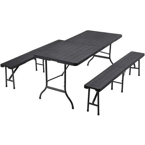 Ensemble de Mobilier de Jardin Pliable, Table de Jardin avec Surface ...