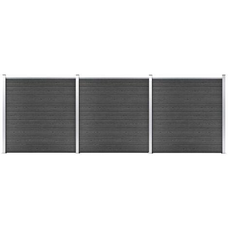 Ensemble de panneau de clôture WPC 526x186 cm Noir