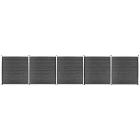 Ensemble de panneau de clôture WPC 872x186 cm Noir