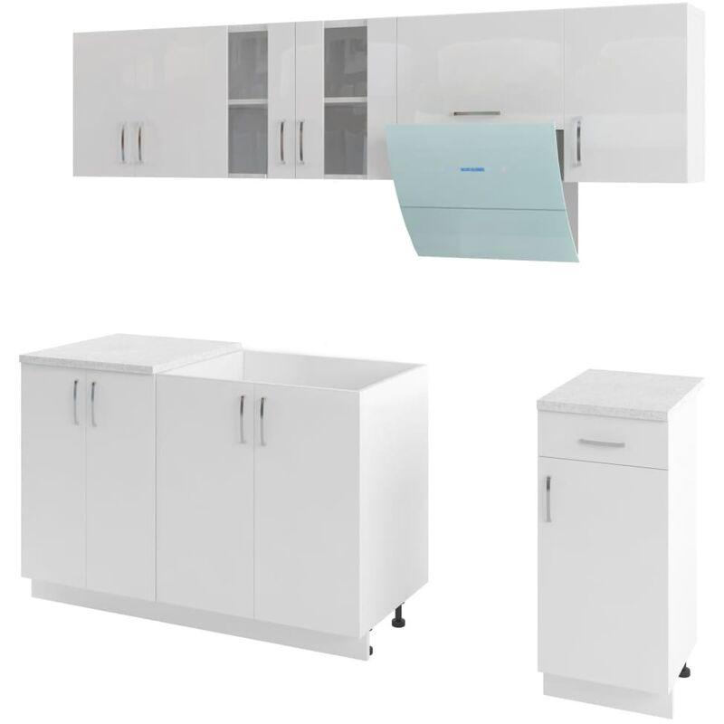 Armoires de cuisine 7 pcs avec hotte Blanc brillant