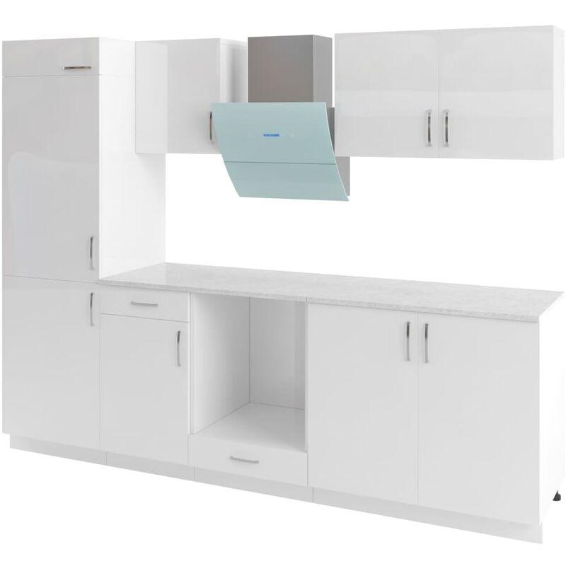 Ensemble d'armoires de cuisine 7 pcs avec hotte Blanc brillant