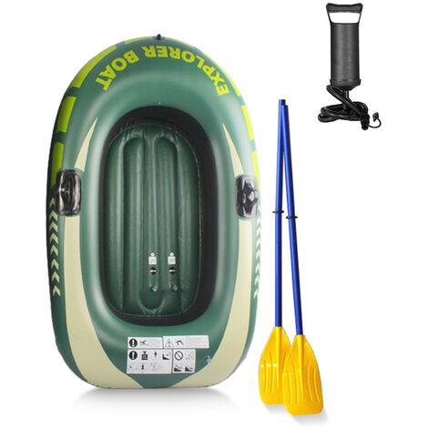 Ensemble De Pompe A Aubes Gonflable Epaissie Bateau De Peche En Canoe Kayak Portable En Pvc, Vert, Bateau Simple