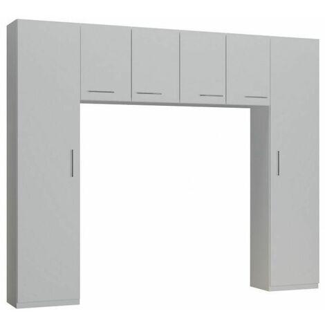 Ensemble de rangement pont 4 portes blanc mat largeur 250 cm - blanc