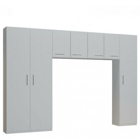 Ensemble de rangement pont 4 portes blanc mat largeur 320 cm - blanc