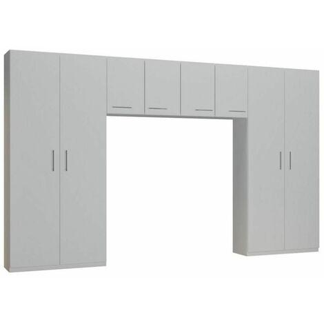 Ensemble de rangement pont 4 portes blanc mat largeur 370 cm - blanc