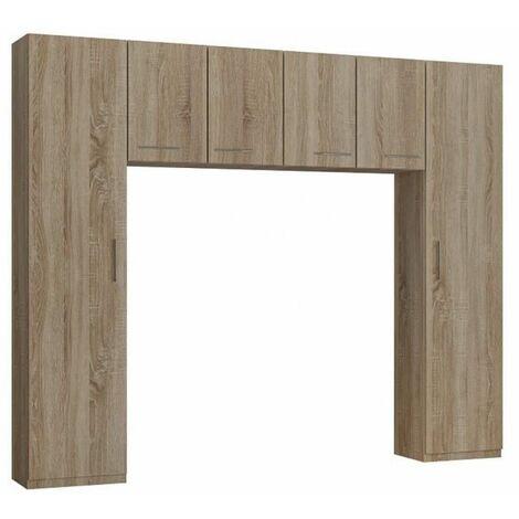 Ensemble de rangement pont 4 portes chêne largeur 270 cm - natural