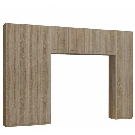 Ensemble de rangement pont 4 portes chêne largeur 320 cm - natural