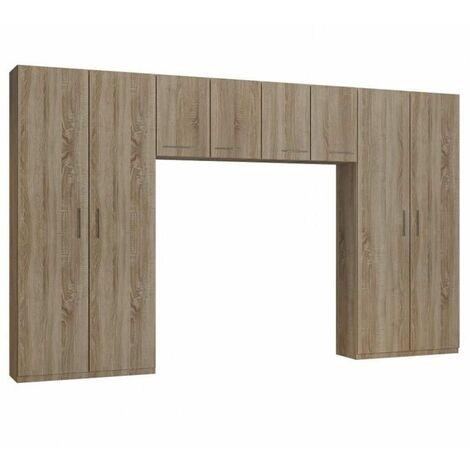 Ensemble de rangement pont 4 portes chêne largeur 370 cm - natural