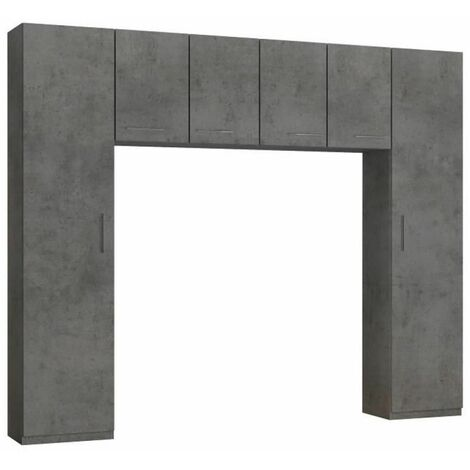 Ensemble de rangement pont 4 portes gris béton largeur 270 cm - gris