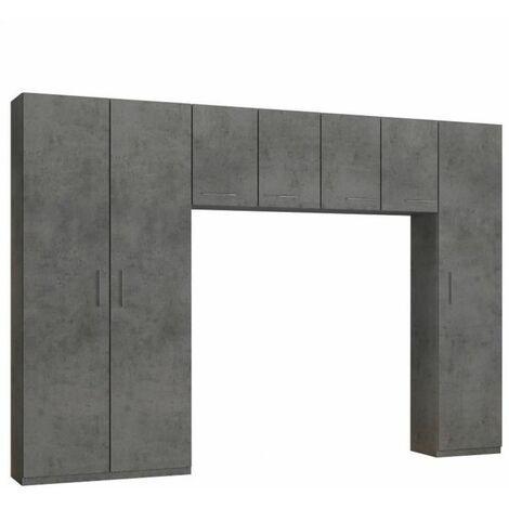 Ensemble de rangement pont 4 portes gris béton largeur 320 cm - gris