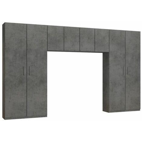 Ensemble de rangement pont 4 portes gris béton largeur 370 cm - gris