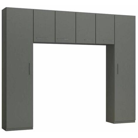 Ensemble de rangement pont 4 portes gris graphite mat largeur 270 cm - gris